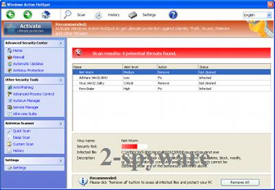 instantanea di Windows Active HotSpot