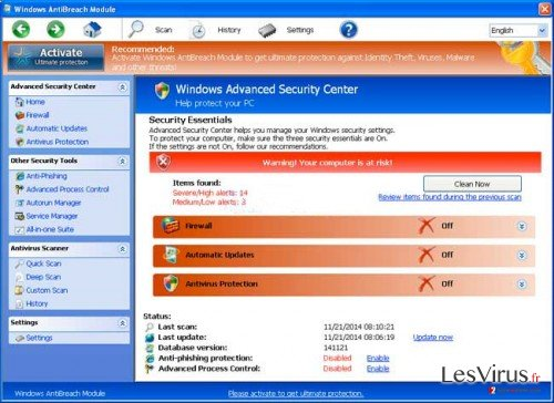instantanea di Windows AntiBreach Module