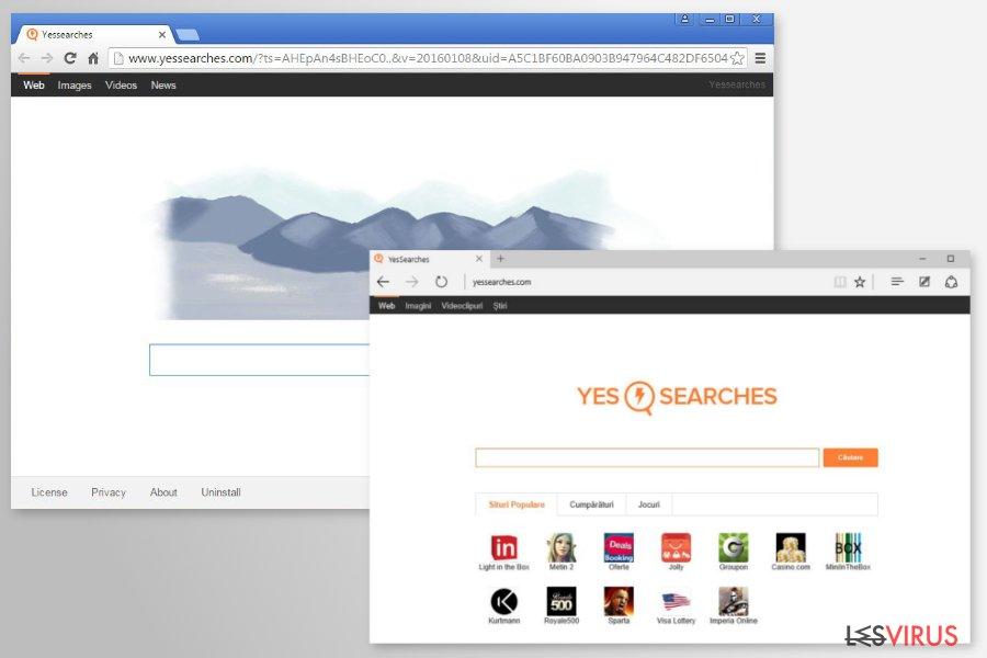 instantanea di I reindirizzamenti di YesSearches.com