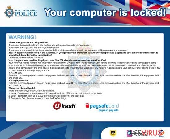 instantanea di Il tuo computer è stato bloccato