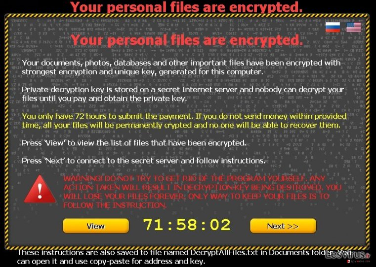 "instantanea di Il virus ""Your personal files are encrypted"""