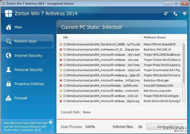 instantanea di Zorton Win 7 Antivirus 2014